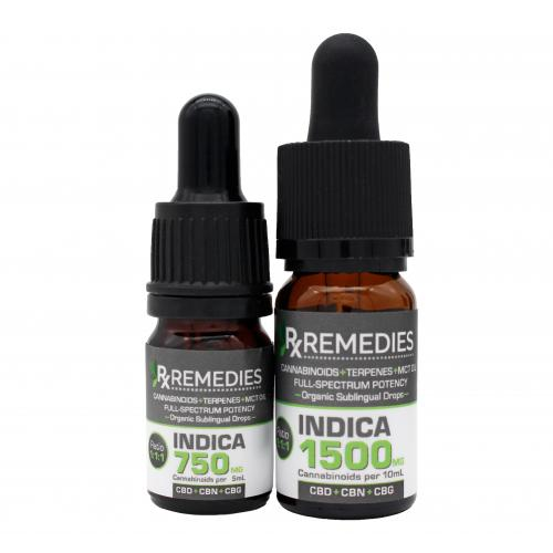 Rx Remedies, Sublingual Drops, MultiCannabinoids, CBD+CBN+CBG, Indica, Group