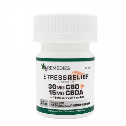 Rx Remedies, Stress Relief Tablets, CBD+CBDA, 30ct