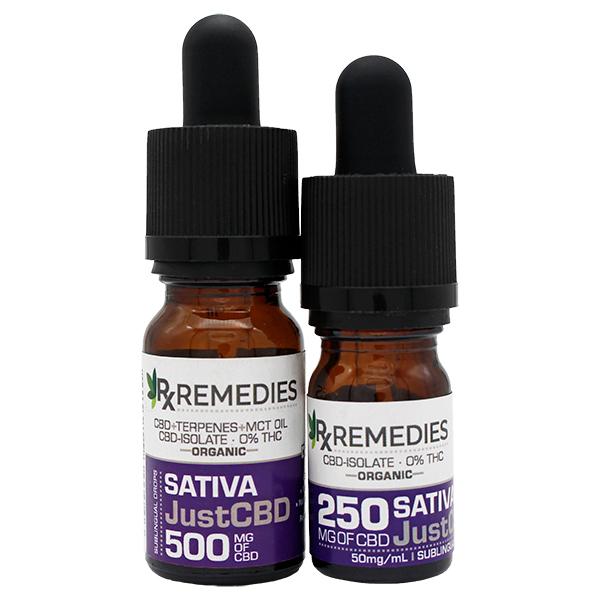Rx Remedies, JustCBD, 0% THC, 50mg/mL, Sativa, Group